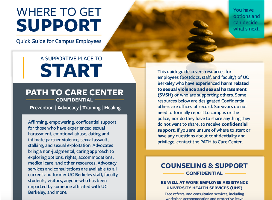 A screenshot of the designed Where to Get Support Quick Guide for Employees